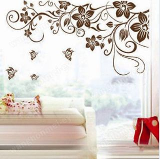 Charming Vine Flower Butterfly Removable PVC Wall Sticker Home Decor