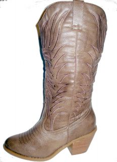 new women moda conac distressed western cowboy boot