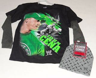 WWE WRESTLING JOHN CENA LONG SLEEVE T SHIRT + BEANIE HAT SIZE BOYS 14