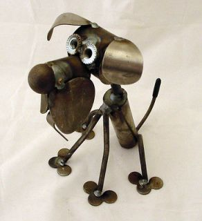 Scrap Metal Unpainted Itty Bitty Dog Sitting Sculpture Made in USA