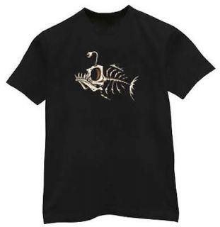 skeleton fish bones tattoo design tee shirt t shirt