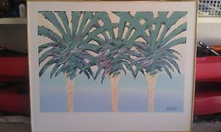 LEE REYNOLDS ORIGINAL OIL ON CANVAS~ 3 PALM TREES~ Large 5x4