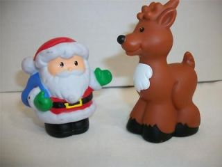 Fisher Price Little People Play Set Christmas Santa AND Reindeer