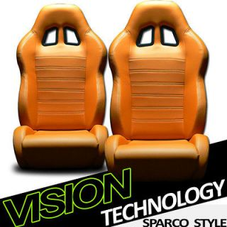 Newly listed 2pc SP Style PVC Leather Orange Sport Racing Bucket Seats