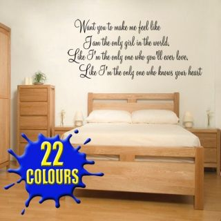 to make me feel like (Rihanna) Lyric wall decal sticker quote bedroom