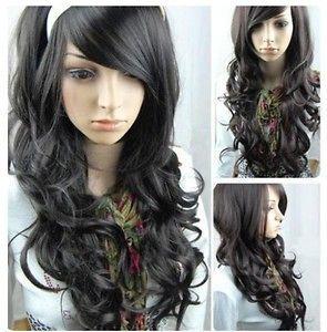 NEW  long black curly hair ladys human made wig+free wig cap