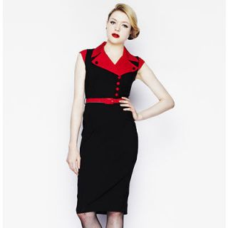 Hell Bunny Veronica Black & Red Pencil Dress NWT Sizes XS, M, L, XL