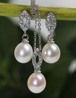 AO122 Genuine STERLING SILVER White Pearl Pendant Necklace Earrings