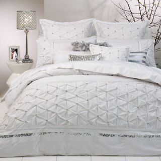 Logan and Mason SOLITAIRE WHITE Diamontes King Size Bed Doona Quilt