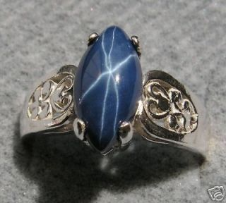 marquise linde blue star sapphire created s s ring one