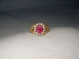 Stunning Estate 14K Yellow Gold Filigree Ruby Champagne Diamond Ring