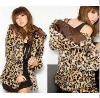 Winter warm hooded leopard print womens open faux fur coat jacket