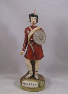 Antique Victorian Staffordshire Macbeth figure 19th Shakespeare