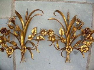 PAIR 1960 Italian HOLLYWOOD REGENCY Gold Gilt Floral Metal Sconce