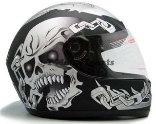 Black SKULL Motorcycle Full Face Street Sport Bike Helmet ~S M L XL