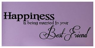 WEDDING LOVE HAPPINESS COUPLE best friends vinyl Decals wall lettering