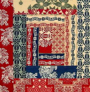Americana Colonial 12 Block Log Cabin PRE CUT Quilt Kit 29 x 39 FARMER