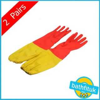 extra long 50cm household plush liner rubber gloves from