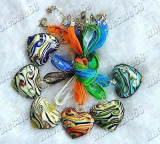 CUTE lots 6ps mixed murano glass heart pendant womens necklaces