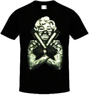 MARILYN MONROE T shirt Tattoo Bandit Tee Guns Men Adult Shirt