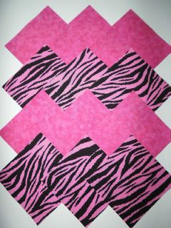 32 hot pink zebra print 5 fabric quilt squares time