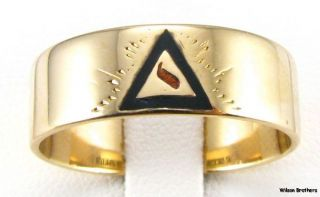 14th Degree YOD Scottish Rite BAND   14k Yellow Gold Ring Black & Red