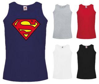 Mens Superman Logo Super Hero Comic Cotton Summer Tank Top Vest NEW S