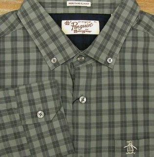 ORIGINAL PENGUIN Mens Gray Cotton/Poly LS Button Front Shirt (L Slim