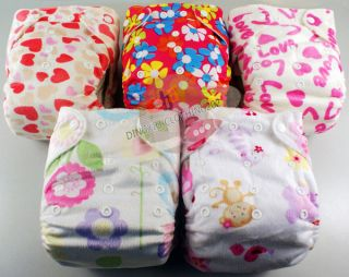 CUTE RE USABLE BAMBOO BABY DIAPER CLOTH NAPPY+BAMBOO INSERT For Girl