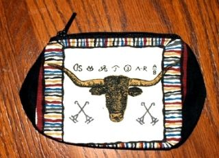 coin purse longhorn cattle branding irons 4 x 5 zips