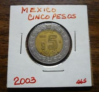 2003 Cinco Pesos $5 Mexico Clad Mexican World Coin Mexicano Circulated