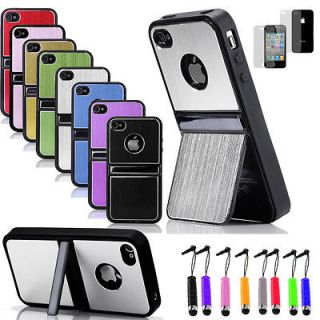 Aluminum TPU Hard Case Cover W/Chrome Stand For iPhone 4 4G 4S+ Stylus