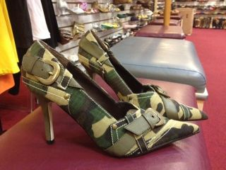 SEXY CAMO CAMOFLAGE BUCKLES COSTUME DRESS POINTY HEELS #NAVI 64A