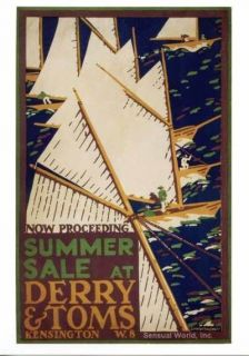 mcknight kauffer art summer sale sail boat postcard time