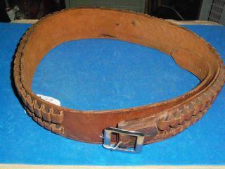 Leather rifle cartridge belt, holds 56 30 30 (?) cartridges, Marked