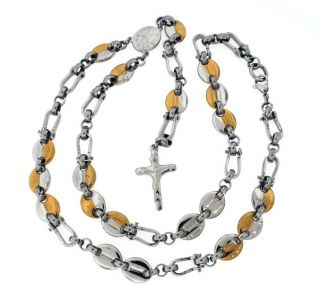 Mens White Yellow Gold Tones Rosary Chain Necklace With Cross 18