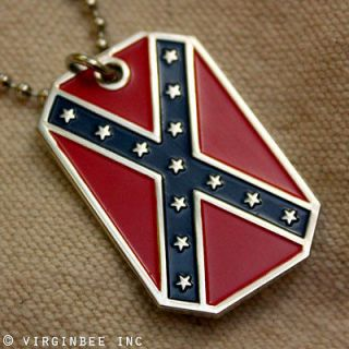 STATES AMERICA FLAG DIXIE REBEL CSA PENDANT DOG TAG CHAIN NECKLACE