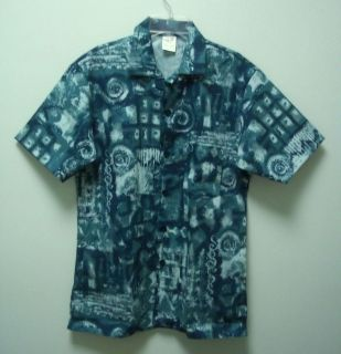 FASHION SEAL Womens Blue Button Front Uniform Shirt Top Collar Small