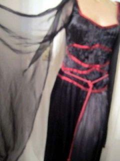 Begotten Black Lily Munster type Ballgown Satin Gown goth Gothic Dress