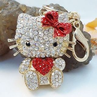 Hello Kitty Cat New Fashion Rhinestone Crystal Key Ring Bag Chain Gift