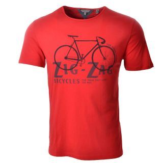 Ted Baker Mens Red Graphic Designer Cotton T Shirt Bicycle Bike Top