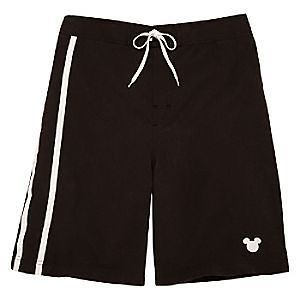 Mens  Mickey Mouse swim trunks L XL New Black with white
