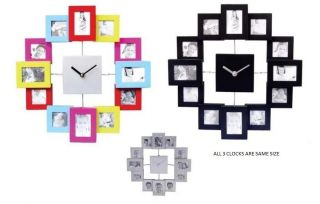 SILVER MODERN 12 MULTI PHOTO PICTURE FRAME & TIME WALL CLOCK FAMILY