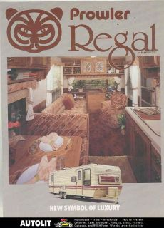1985 fleetwood prowler regal travel trailer brochure