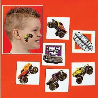 36 MONSTER TRUCK TATTOOS 3 Dozen Kids Temporary Party Favors NIP
