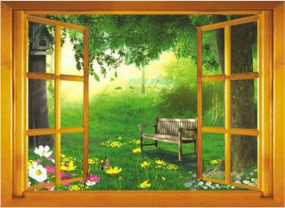 Large 3D Garden View Window Film Wall Stickers art Mural Wallpaper