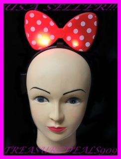 MINNIE MICKEY MOUSE BOWS LIGHT UP POLKA DOTS RED HEADBAND BUTTERFLY
