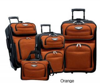 traveler s choice amsterdam 4 piece luggage set orange time