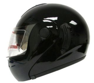 FLIP UP MODULAR FULL FACE MOTORCYCLE HELMET GLOSS BLACK DUAL SHIELD