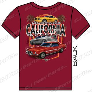 mustang red short sleeve t shirt california special more options size